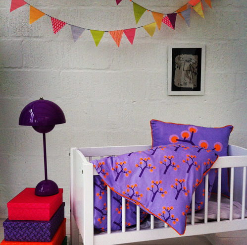 Baby bedding Cover - Graphic tree purple